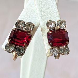 Vintage Gold & Red Rhinestone Screw Back Earrings